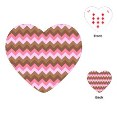 Shades Of Pink And Brown Retro Zigzag Chevron Pattern Playing Cards (heart)  by Nexatart