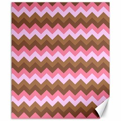 Shades Of Pink And Brown Retro Zigzag Chevron Pattern Canvas 8  X 10  by Nexatart