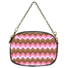 Shades Of Pink And Brown Retro Zigzag Chevron Pattern Chain Purses (two Sides)  by Nexatart
