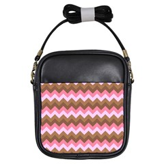 Shades Of Pink And Brown Retro Zigzag Chevron Pattern Girls Sling Bags by Nexatart