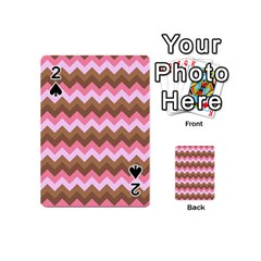 Shades Of Pink And Brown Retro Zigzag Chevron Pattern Playing Cards 54 (mini)  by Nexatart