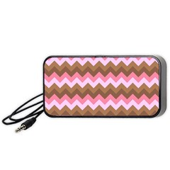 Shades Of Pink And Brown Retro Zigzag Chevron Pattern Portable Speaker (black) by Nexatart