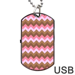 Shades Of Pink And Brown Retro Zigzag Chevron Pattern Dog Tag Usb Flash (two Sides) by Nexatart