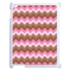 Shades Of Pink And Brown Retro Zigzag Chevron Pattern Apple Ipad 2 Case (white) by Nexatart