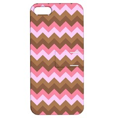 Shades Of Pink And Brown Retro Zigzag Chevron Pattern Apple Iphone 5 Hardshell Case With Stand by Nexatart