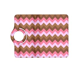 Shades Of Pink And Brown Retro Zigzag Chevron Pattern Kindle Fire Hd (2013) Flip 360 Case by Nexatart