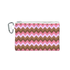 Shades Of Pink And Brown Retro Zigzag Chevron Pattern Canvas Cosmetic Bag (s) by Nexatart