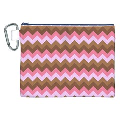 Shades Of Pink And Brown Retro Zigzag Chevron Pattern Canvas Cosmetic Bag (xxl) by Nexatart