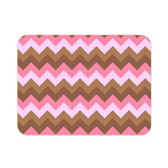 Shades Of Pink And Brown Retro Zigzag Chevron Pattern Double Sided Flano Blanket (mini)  by Nexatart
