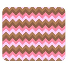 Shades Of Pink And Brown Retro Zigzag Chevron Pattern Double Sided Flano Blanket (small)
