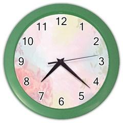 Watercolor Floral Color Wall Clocks by Nexatart
