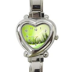 Green Background Wallpaper Texture Heart Italian Charm Watch by Nexatart