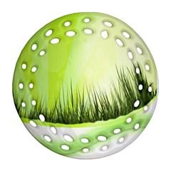 Green Background Wallpaper Texture Ornament (round Filigree) by Nexatart
