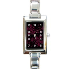 Pink Floral Pattern Background Rectangle Italian Charm Watch by Nexatart