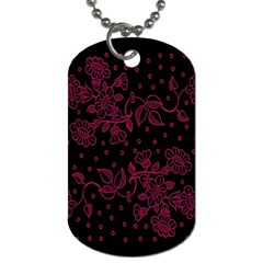 Pink Floral Pattern Background Dog Tag (two Sides) by Nexatart