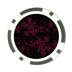 Pink Floral Pattern Background Poker Chip Card Guard by Nexatart