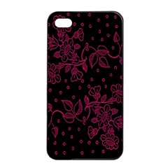 Pink Floral Pattern Background Apple Iphone 4/4s Seamless Case (black) by Nexatart