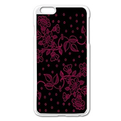 Pink Floral Pattern Background Apple Iphone 6 Plus/6s Plus Enamel White Case by Nexatart
