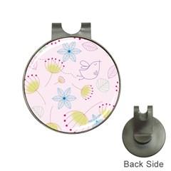 Pretty Summer Garden Floral Bird Pink Seamless Pattern Hat Clips With Golf Markers by Nexatart