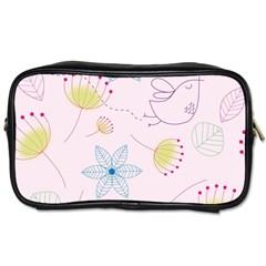 Pretty Summer Garden Floral Bird Pink Seamless Pattern Toiletries Bags 2 Side by Nexatart