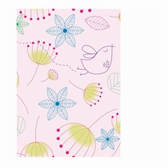 Pretty Summer Garden Floral Bird Pink Seamless Pattern Large Garden Flag (two Sides) by Nexatart