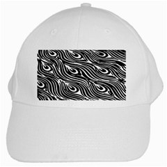 Digitally Created Peacock Feather Pattern In Black And White White Cap by Nexatart