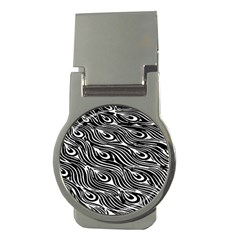 Digitally Created Peacock Feather Pattern In Black And White Money Clips (round)