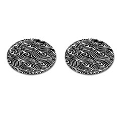 Digitally Created Peacock Feather Pattern In Black And White Cufflinks (oval) by Nexatart