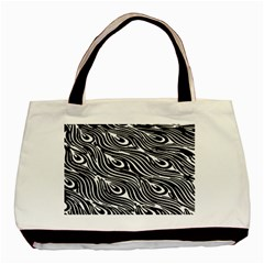 Digitally Created Peacock Feather Pattern In Black And White Basic Tote Bag by Nexatart