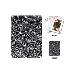 Digitally Created Peacock Feather Pattern In Black And White Playing Cards (mini)  by Nexatart