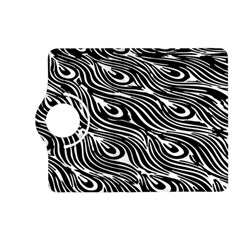 Digitally Created Peacock Feather Pattern In Black And White Kindle Fire Hd (2013) Flip 360 Case by Nexatart