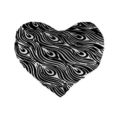 Digitally Created Peacock Feather Pattern In Black And White Standard 16  Premium Flano Heart Shape Cushions by Nexatart