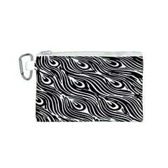 Digitally Created Peacock Feather Pattern In Black And White Canvas Cosmetic Bag (s) by Nexatart