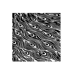 Digitally Created Peacock Feather Pattern In Black And White Satin Bandana Scarf by Nexatart