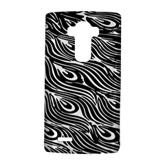 Digitally Created Peacock Feather Pattern In Black And White Lg G4 Hardshell Case by Nexatart
