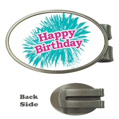 Happy Brithday Typographic Design Money Clips (oval)  by dflcprints