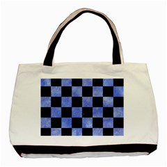 Square1 Black Marble & Blue Watercolor Basic Tote Bag by trendistuff