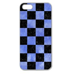 Square1 Black Marble & Blue Watercolor Apple Seamless Iphone 5 Case (clear) by trendistuff
