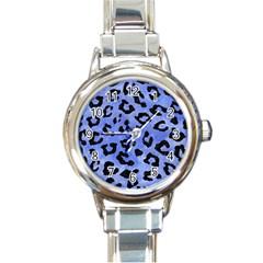 Skin5 Black Marble & Blue Watercolor Round Italian Charm Watch by trendistuff