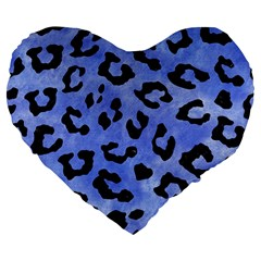 Skin5 Black Marble & Blue Watercolor Large 19  Premium Flano Heart Shape Cushion by trendistuff