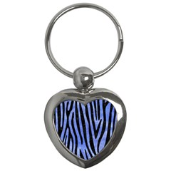 Skin4 Black Marble & Blue Watercolor Key Chain (heart) by trendistuff