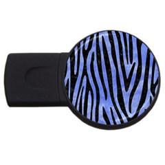 Skin4 Black Marble & Blue Watercolor Usb Flash Drive Round (2 Gb) by trendistuff