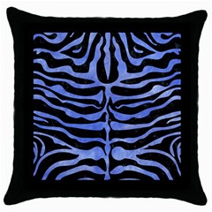 Skin2 Black Marble & Blue Watercolor Throw Pillow Case (black) by trendistuff