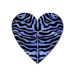 Skin2 Black Marble & Blue Watercolor Magnet (heart) by trendistuff