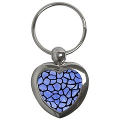 Skin1 Black Marble & Blue Watercolor Key Chain (heart) by trendistuff