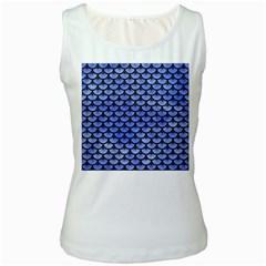 Scales3 Black Marble & Blue Watercolor (r) Women s White Tank Top by trendistuff