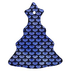 Scales3 Black Marble & Blue Watercolor (r) Christmas Tree Ornament (two Sides) by trendistuff