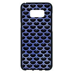 Scales3 Black Marble & Blue Watercolor Samsung Galaxy S8 Plus Black Seamless Case