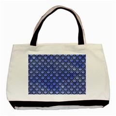 Scales2 Black Marble & Blue Watercolor (r) Basic Tote Bag by trendistuff
