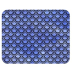 Scales2 Black Marble & Blue Watercolor (r) Double Sided Flano Blanket (medium) by trendistuff